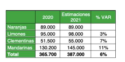 Se estima crecimiento de 6% en exportaciones de cítricos para temporada 2021