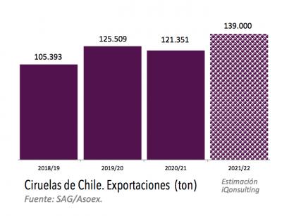 Estimación de exportaciones de frutas chilenas primavera-verano para temporada 2021-2022